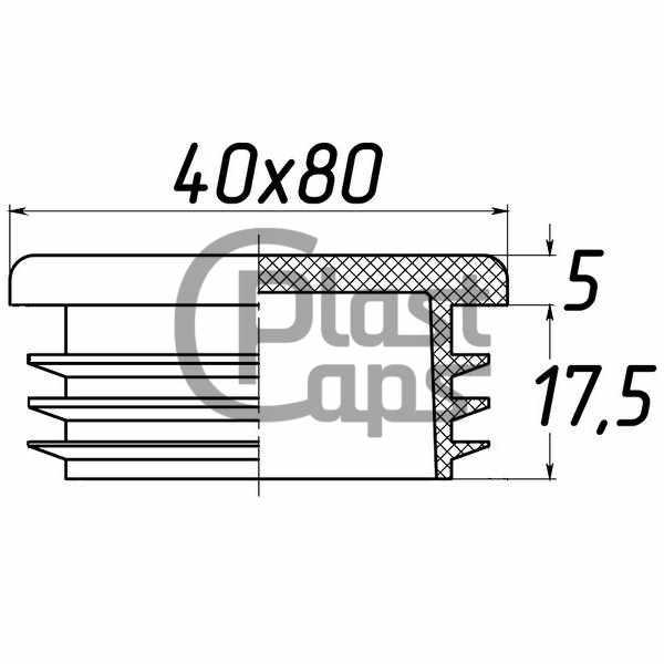 Заглушка прямоугольная 40х80-0