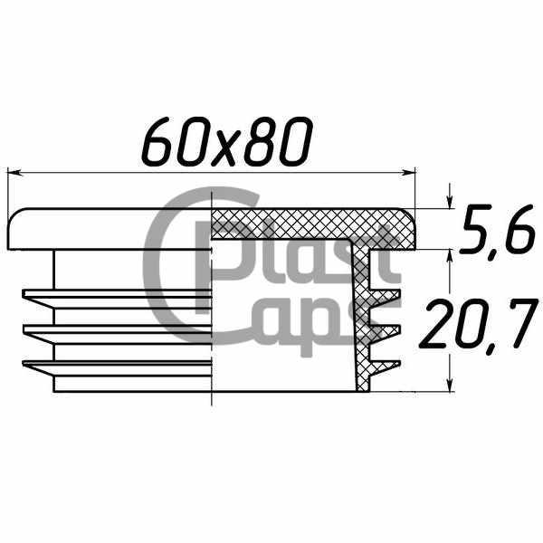 Заглушка прямоугольная 60х80-0
