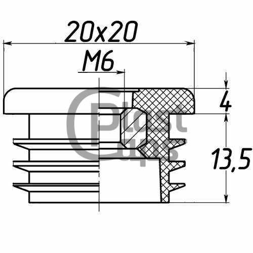 Заглушка 20х20 с резьбой М6-0